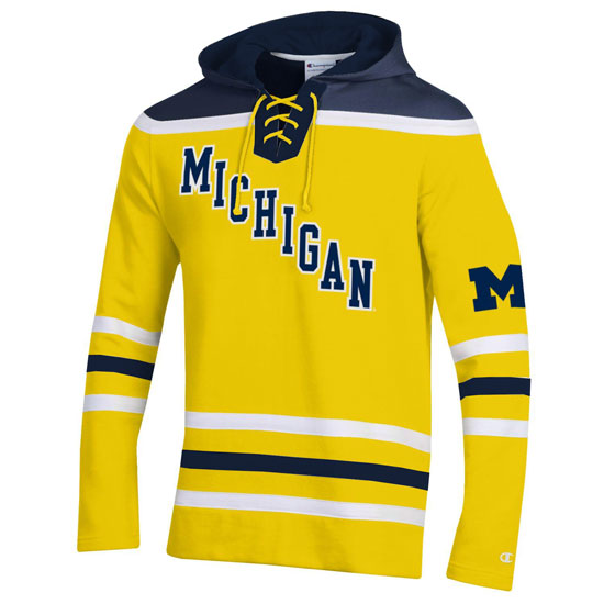 Champion University of Michigan Hockey Yellow Lace-Up Heritage Hooded Sweatshirt