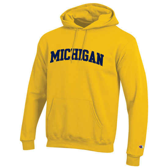 Champion University of Michigan Yellow Tackle Twill Basic Hooded Sweatshirt