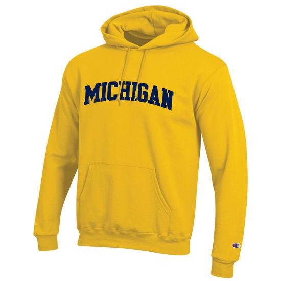 Champion University of Michigan Yellow Tackle Twill Basic Hooded Sweatshirt