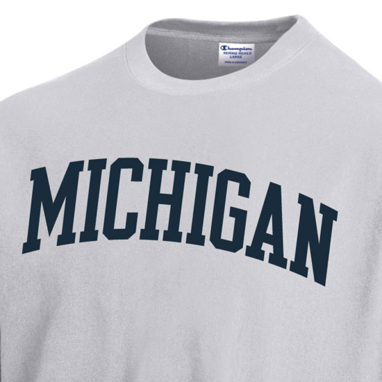 f64e4a55 Champion University of Michigan Silver Gray Reverse Weave Crewneck  Sweatshirt