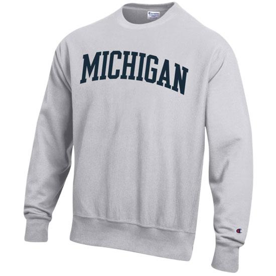 85026c4f Champion University of Michigan Silver Gray Reverse Weave Crewneck  Sweatshirt. Product Thumbnail Product Thumbnail