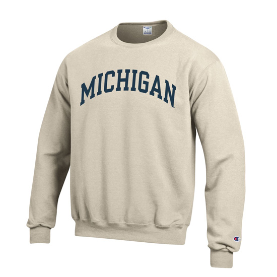 Champion University of Michigan Oatmeal Basic Crewneck Sweatshirt