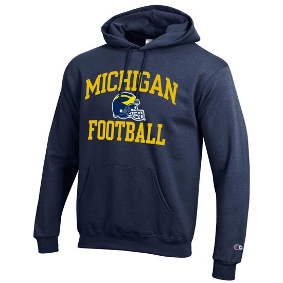 Champion University of Michigan Football Navy Hooded Sweatshirt