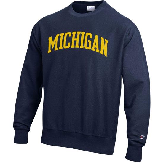 Champion University of Michigan Navy Reverse Weave Crewneck Sweatshirt