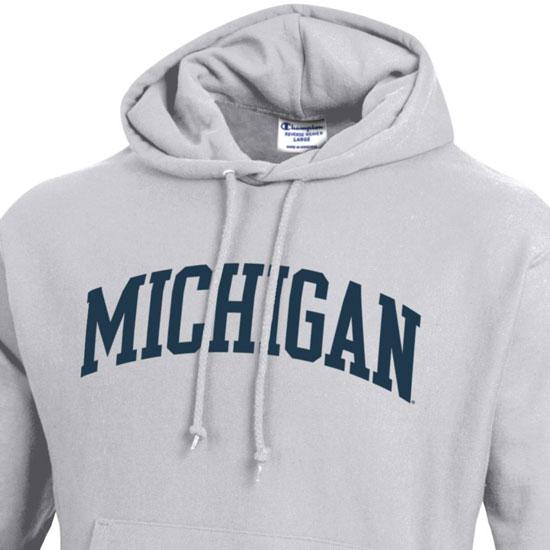 906cee83 Champion University of Michigan Silver Gray Reverse Weave Hooded Sweatshirt
