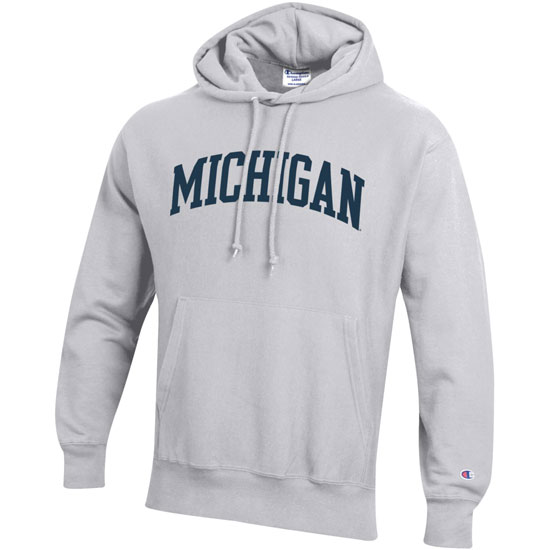 Champion University of Michigan Silver Gray Reverse Weave Hooded Sweatshirt