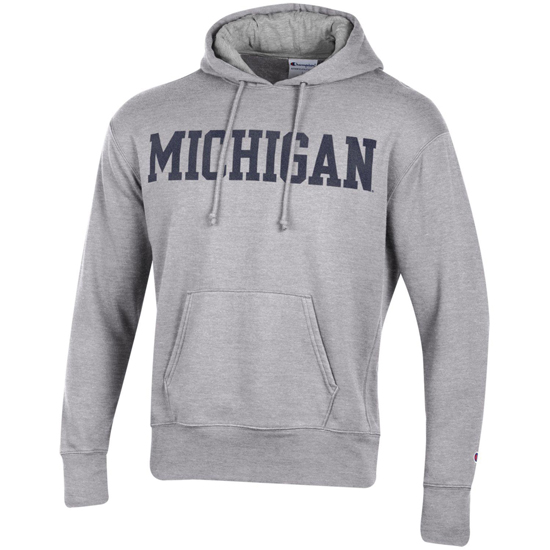 Champion University of Michigan Oxford Gray Rochester Fleece Hooded Sweatshirt