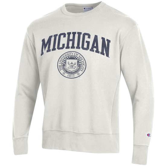 Champion University of Michigan Off-White University Seal Rochester Crewneck Sweatshirt