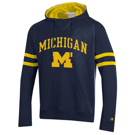 Champion University of Michigan Navy ''Superfan'' Hooded Sweatshirt