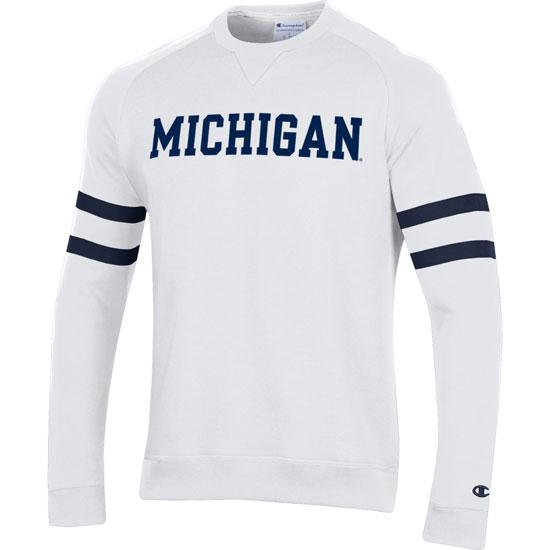 Champion University of Michigan White SuperFan Crewneck Sweatshirt