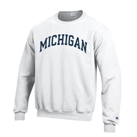 Champion University of Michigan White Basic Crewneck Sweatshirt
