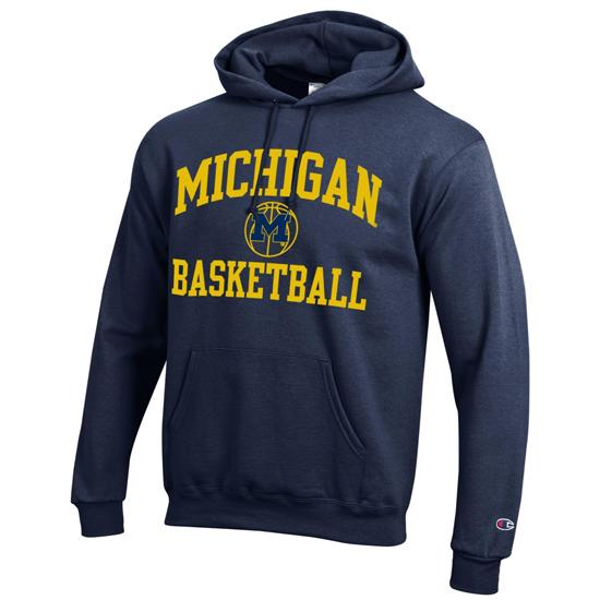 Champion University of Michigan Basketball Navy Powerblend Tackle Twill Hooded Sweatshirt