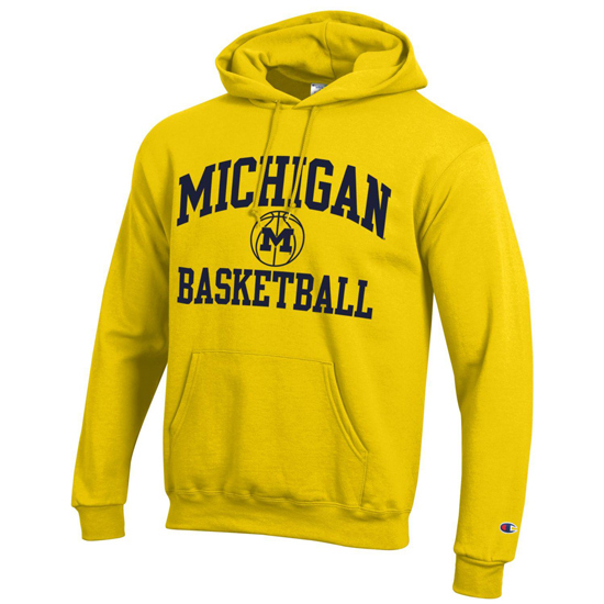 Champion University of Michigan Basketball Yellow Powerblend Hooded Sweatshirt