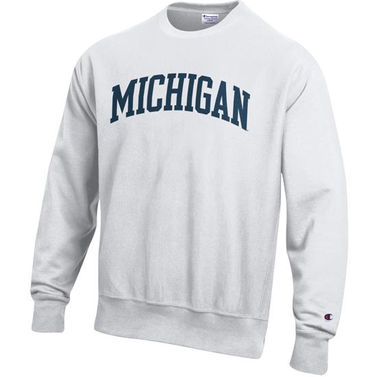 Champion University of Michigan White Reverse Weave Crewneck Sweatshirt