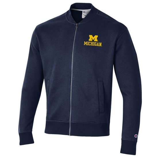 Champion University of Michigan Navy Rochester Fleece Full Zip Track Jacket