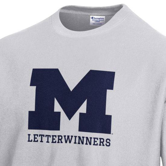 97c26c67 Champion University of Michigan Letterwinners Silver Gray Reverse Weave  Crewneck Sweatshirt