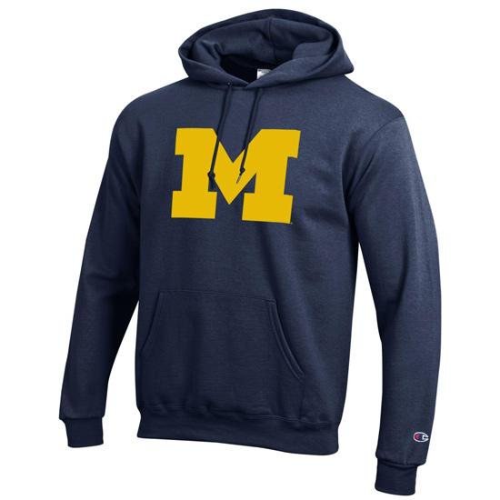Champion University of Michigan Block ''M'' Basic Navy Hooded Sweatshirt