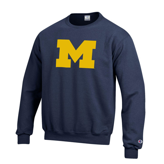 Champion University of Michigan Block ''M'' Navy Basic Crewneck Sweatshirt