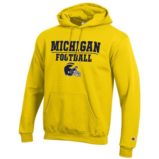 Champion University of Michigan Football Yellow Hooded Sweatshirt