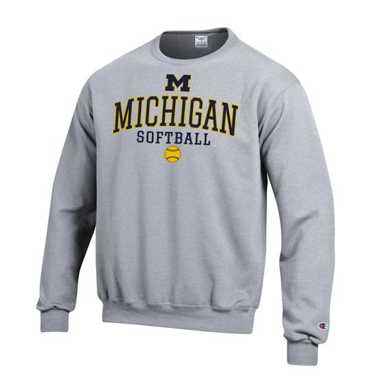 Champion University of Michigan Softball Gray Crewneck Sweatshirt