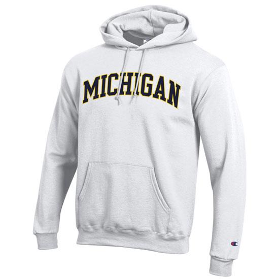 Champion University of Michigan White Basic Powerblend Hooded Sweatshirt