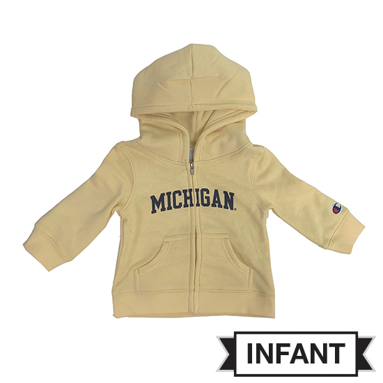 Champion University of Michigan Infant Butter Yellow Full Zip Hooded Sweatshirt