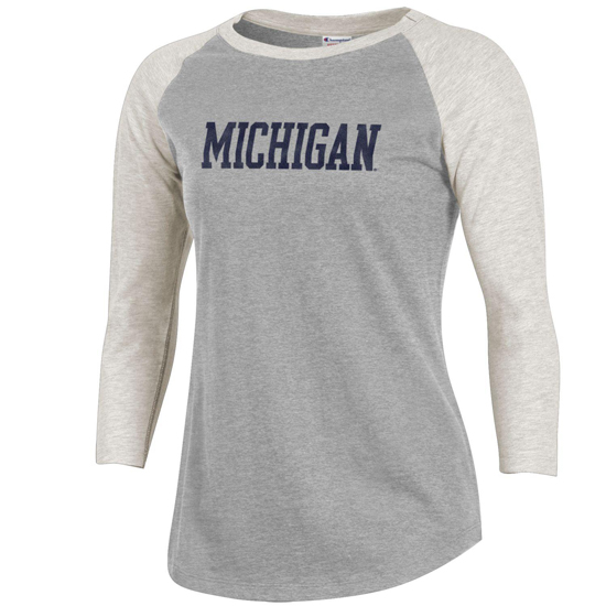 Champion University of Michigan Women's Rochester 3/4 Raglan Sleeve Tee