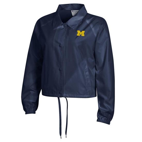 Champion University of Michigan Women's Navy Crop Coaches Jacket