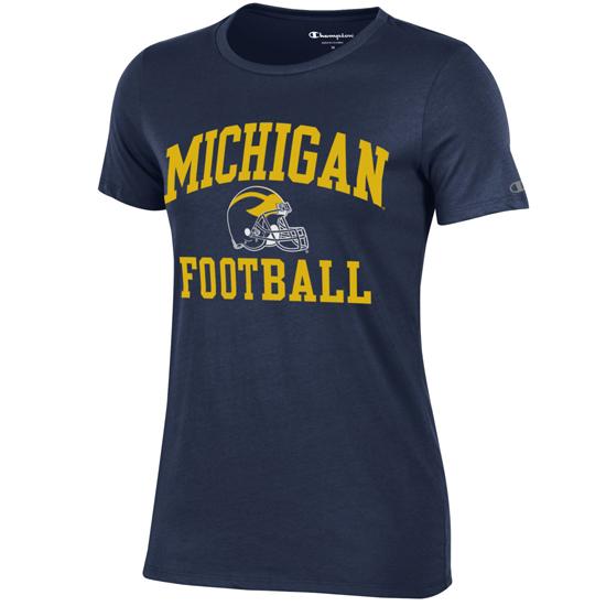 Champion University of Michigan Football Women's Navy Tee