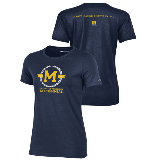 Champion University of Michigan Bicentennial Women's Navy Tee