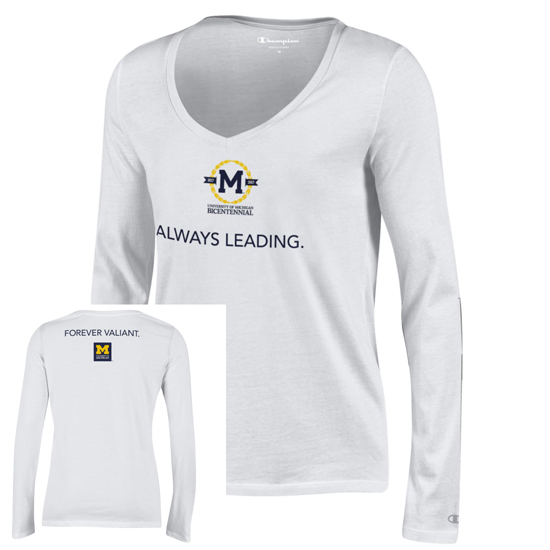 Champion University of Michigan Bicentennial Women's White Long Sleeve V-Neck Tee