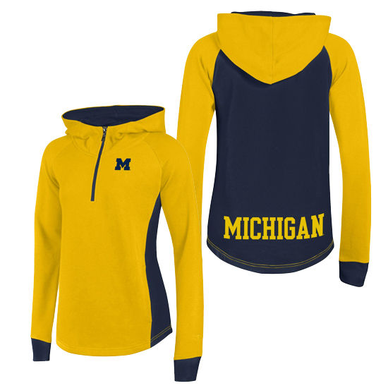 Champion University of Michigan Women's Yellow Heritage Pullover 1/4 Zip Hood