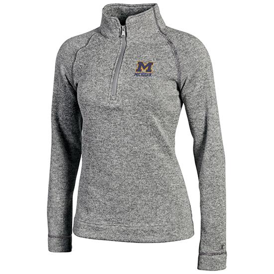 Champion University of Michigan Women's Gray Arctic Fleece 1/4 Zip Pullover