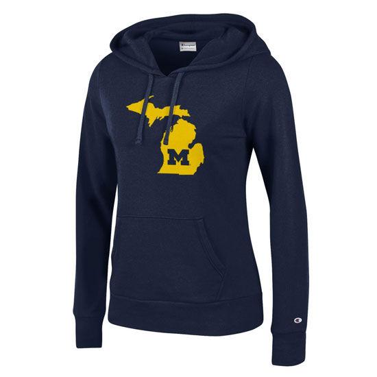 Champion University of Michigan Ladies Navy State of Michigan Hood