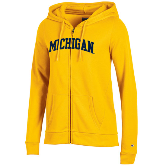 Champion University of Michigan Women's Yellow Full Zip Hooded Sweatshirt