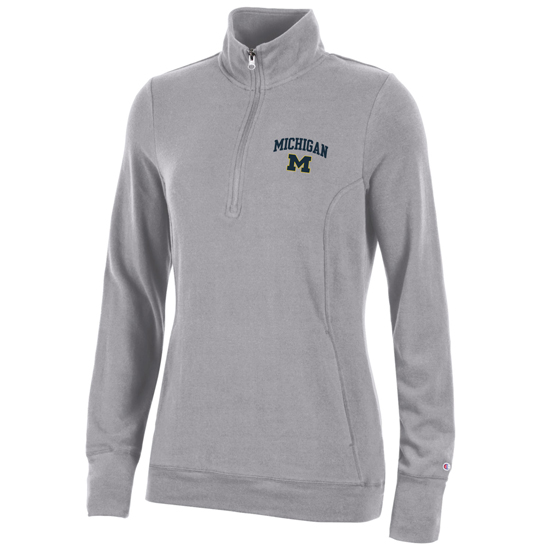 Champion University of Michigan Women's Gray University Lounge 1/4 Zip Pullover Sweatshirt
