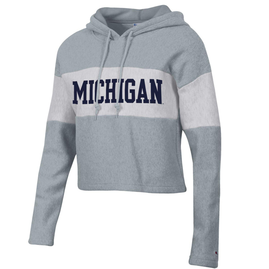Champion University of Michigan Women's Gray/ Silver Reverse Weave Crop Hooded Sweatshirt
