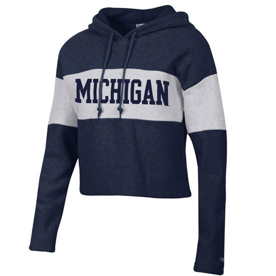 Champion University of Michigan Women's Navy/ Gray Reverse Weave Crop Hooded Sweatshirt