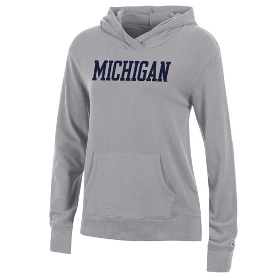 Champion University of Michigan Women's Heather Gray University Lounge Lightweight Hooded Sweatshirt