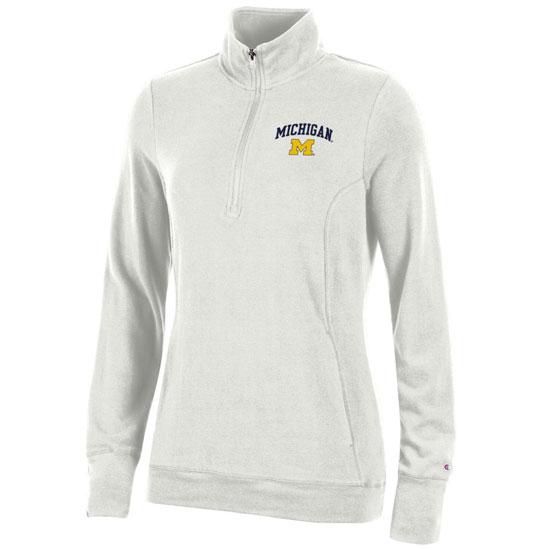 Champion University of Michigan Women's Off-White University Lounge 1/4 Zip Pullover Sweatshirt