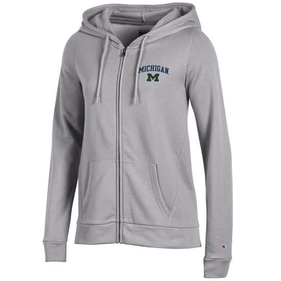 Champion University of Michigan Women's Gray University Full-Zip Hooded Sweatshirt