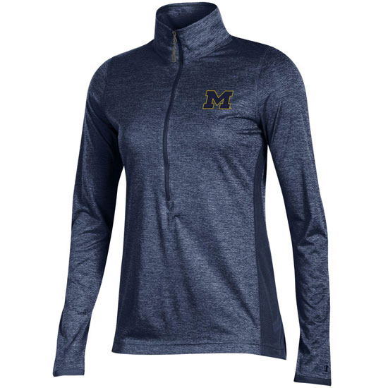 Champion University of Michigan Women's Heather Navy Marathon Deep Zip Performance Pullover