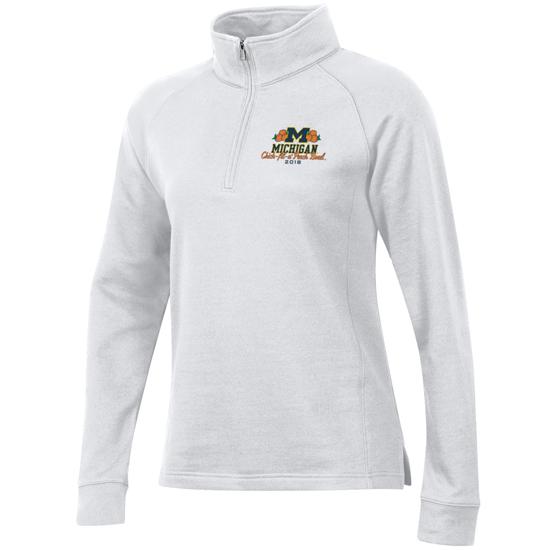 Champion University of Michigan Football Peach Bowl Women's White 1/4 Zip Sweatshirt