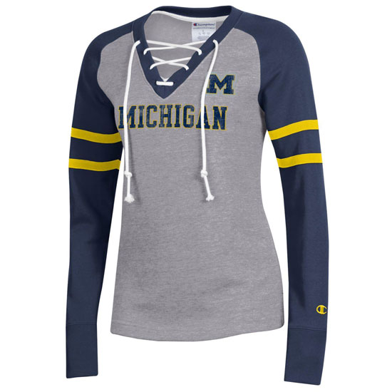 Champion University of Michigan Women's Gray/Navy SuperFan Lace-Up Sweatshirt