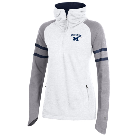 Champion University of Michigan Women's White/Gray ''Superfan'' Cowl Neck 1/2 Zip Hooded Sweatshirt
