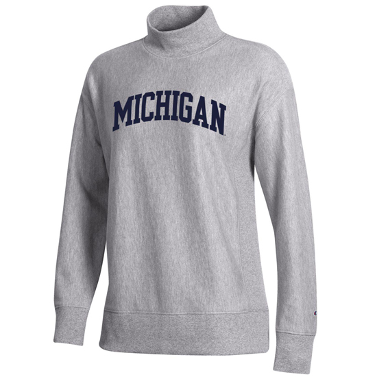 Champion University of Michigan Women's Gray Reverse Weave Mock Neck Sweatshirt