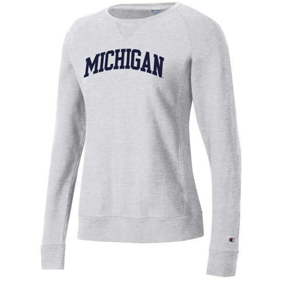 Champion University of Michigan Women's Silver Gray Reverse Weave Crewneck Sweatshirt