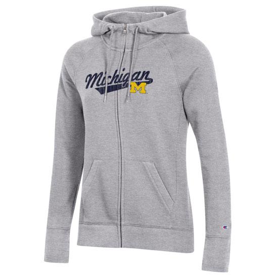 Champion University of Michigan Women's Gray University 2.0 Full Zip Hooded Sweatshirt