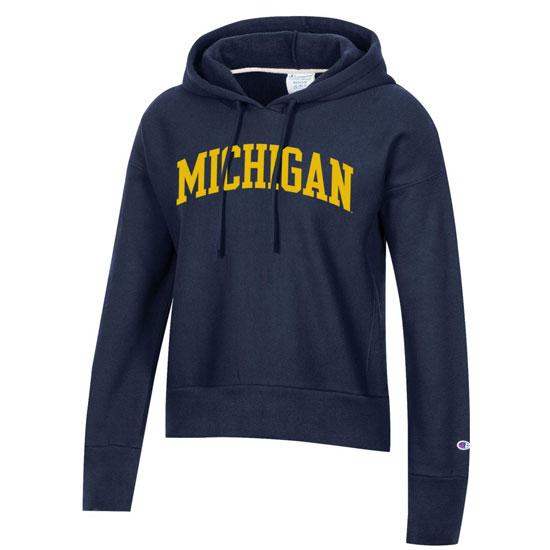 Champion University of Michigan Women's Navy Reverse Weave Crop Hooded Sweatshirt