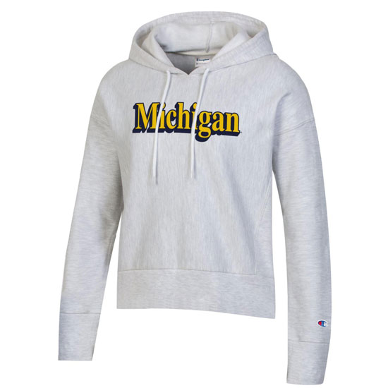 Champion University of Michigan Women's Silver Gray Reverse Weave Crop Hooded Sweatshirt
